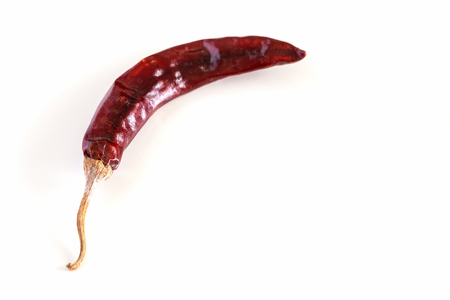 Dry red chilli long Kashmiri pepper isolated on white background. Close up. Copy space for your text. Selective focus. Imagens