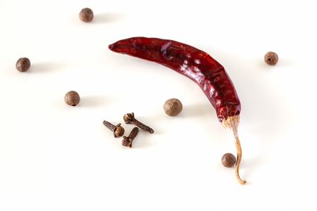 Dry red chilli long Kashmiri pepper, Cloves and Allspice isolated on white background. Close up. Copy space.