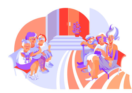 vector illustration with five old women and one old man sitting on benches at the entrance door