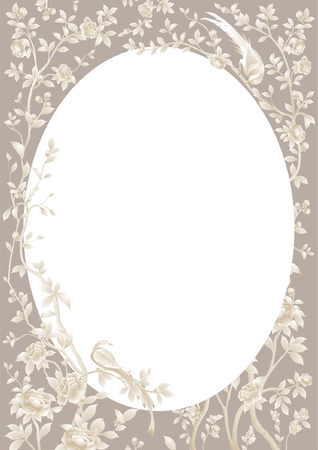 vector round frame with branches, flowers and birds Illustration