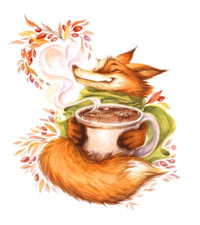 watercolor illustration with green scarf and mug Standard-Bild - 109943889