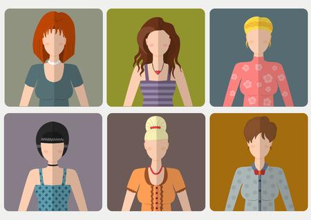 Vector set van de vrouwen met verschillende kapsels in vlakke stijl