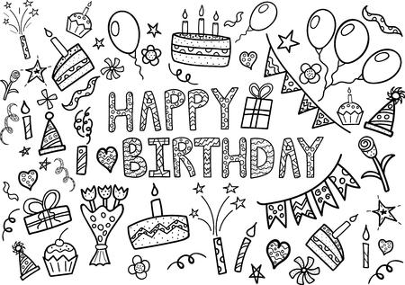 flores de cumplea�os: Feliz cumplea�os doodle de conjunto con elementos dibujados a mano