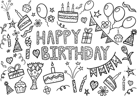 birthday party: Happy Birthday doodle set with hand drawn elements