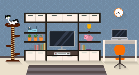 Interior of a living room with furniture, TV and a cute cat with his scratching post. Modern flat design 