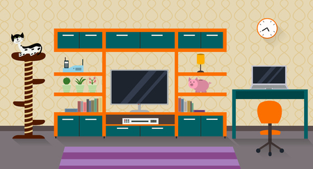 dvd room: Interior of a living room with furniture, TV and a cute cat with his scratching post. Modern flat design  illustration with long shadows.