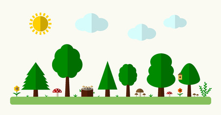 grebe: Flat forest background with trees, grass and mushrooms. Vector illustration.