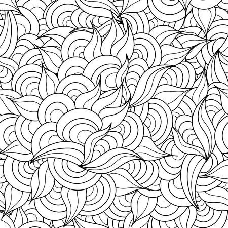 wavy background: Hand drawn abstract herbal and circles black and white seamless pattern. Great for textile, wrapping and other surface textures. Vector illustration