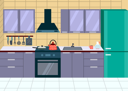 modern kitchen interior: Modern kitchen interior with furniture. Vector illustration
