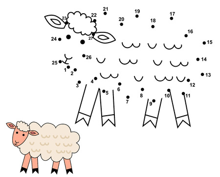 Connect the dots to draw the cute sheep. Educational numbers game for children. Vector illustration