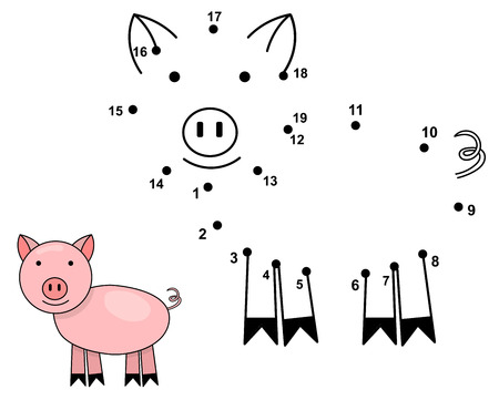 Connect the dots to draw the cute pig. Educational numbers game for children. Vector illustration