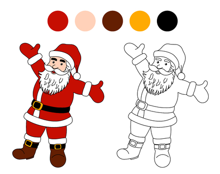 Coloring Book: Santa Clause. Christmas Theme for Children Illustration