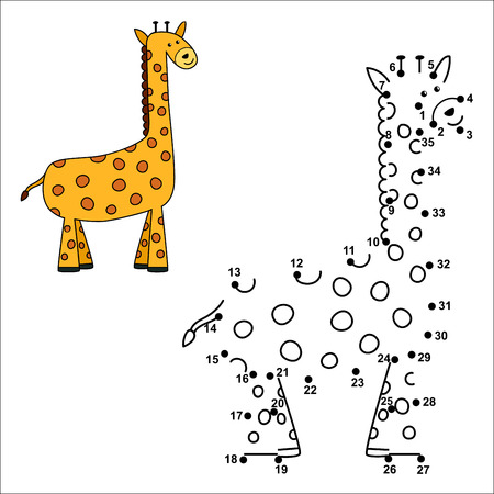 Connect the dots to draw the cute giraffe and color it. Educational numbers and coloring game for children. 
