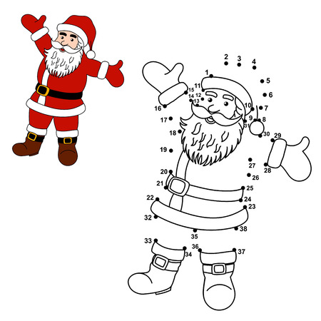 Connect the dots to draw Santa Claus and color him. Educational numbers and coloring game for children. Vector illustration Ilustração