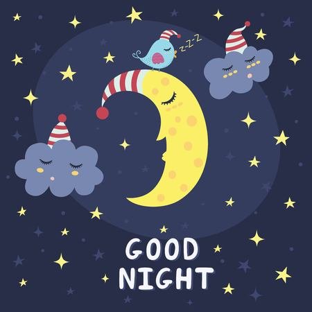Good night card with the cute sleeping moon, clouds and a bird. Vector illustration Stock Illustratie