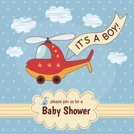 Baby shower invitation card Its a boy with a cute helicopter. Vector illustration Illustration
