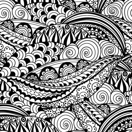 Black and white floral seamless pattern. Round ornament texture in vector. Great choice for wrapping, printing and fabric paper and for adult coloring page Ilustração