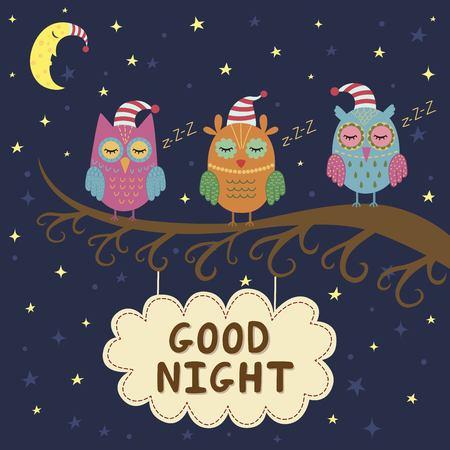 Bonne carte de nuit avec les hiboux de sommeil mignon. Vector illustration