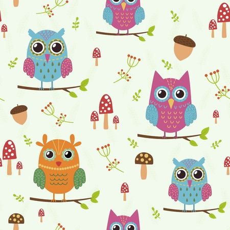 Forest seamless pattern with cute owls. Great choice for cloth design, wallpaper, textile, wrapping and other pattern fills. Vector illustration Vettoriali