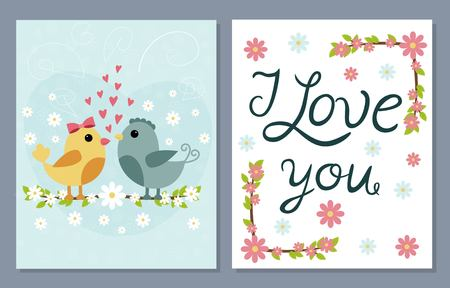 valentine day love beautiful: I love you card set with cute birds and flowers. Vector illustration