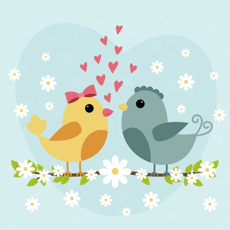 posted: Happy Valentines Day card with cute bird couple. Vector illustration Illustration
