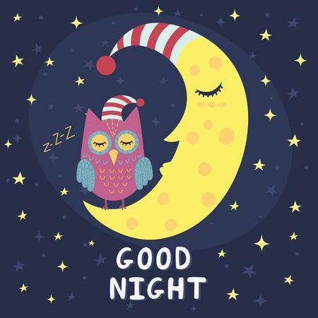 Buena tarjeta de la noche con la luna el dormir y el búho lindo. ilustración vectorial