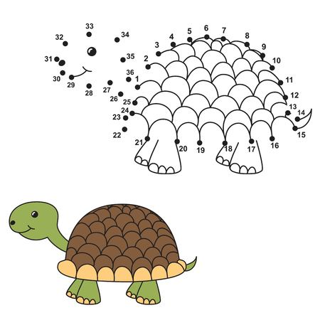 coloring sheets: Connect the dots to draw the cute turtle and color it. Educational numbers and coloring game for children. Vector illustration Illustration