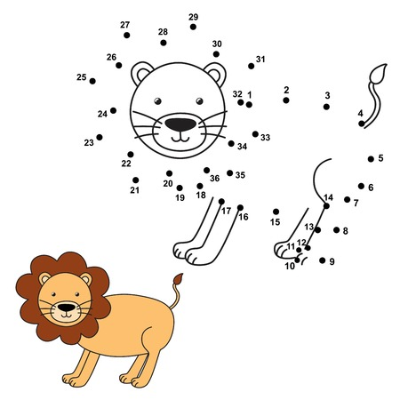 book pages: Connect the dots to draw the cute lion and color it. Educational numbers and coloring game for children. Vector illustration Illustration