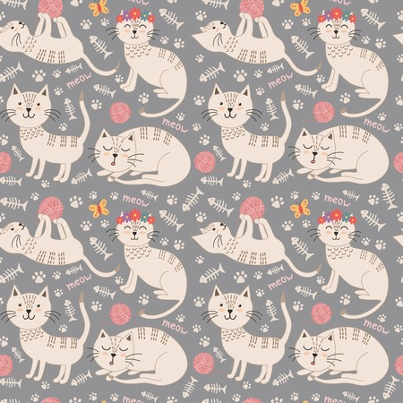 fills: Funny seamless pattern with cute cats. Vector texture great for childish cloth design, wallpaper, textile, wrapping and other pattern fills