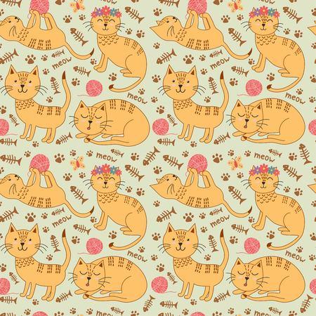 jelly beans: Modelo inconsútil con los gatos del jengibre lindo en el estilo infantil. fondo de los niños. ilustración vectorial