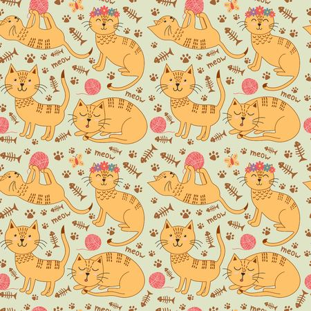 ginger: Seamless pattern with cute ginger cats in childish style. Kids background. Vector illustration Illustration