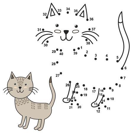 gato dibujo: Conectar los puntos para dibujar el gato lindo y colorearlo. números educativos y juego de colorear para niños. ilustración vectorial Vectores