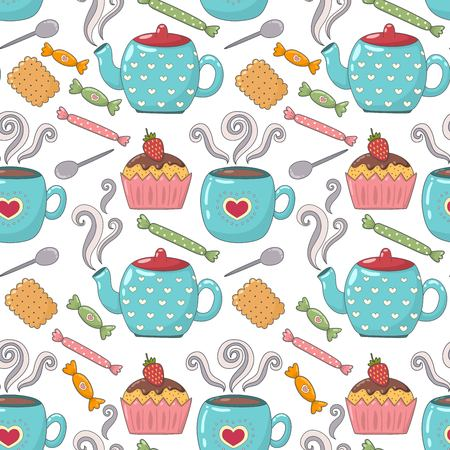 teacup: Tea time cute seamless pattern with teacups, teapots, cupcakes and candies. Sweet vector pattern great for textile, wallpaper, pattern fills, web page backgrounds, surface textures