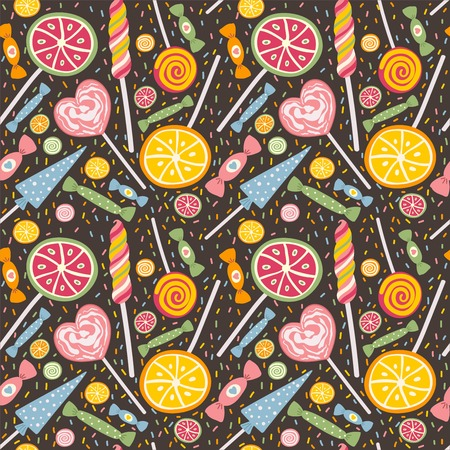 tucker: Cute seamless pattern with lollipops and candies. Sweet vector texture great for textile, wallpaper, pattern fills, web page backgrounds, surface textures