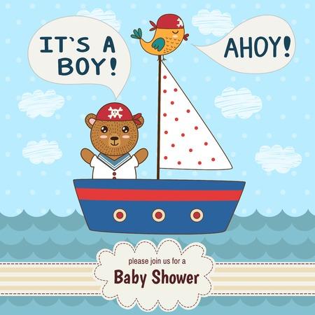 barco caricatura: tarjeta de invitación de la ducha del bebé lindo es un niño en un estilo náutico. Tarjeta del vector con un oso lindo y un pájaro en un barco Vectores