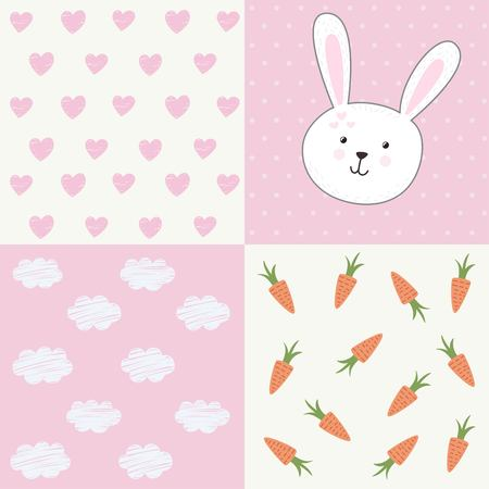 baby love: Cute baby shower pattern with rabbit. Vector design set Illustration