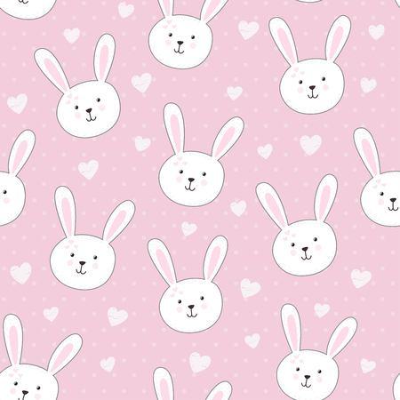 幼稚なスタイルでウサギとかわいいシームレス パターン。ベクトル図