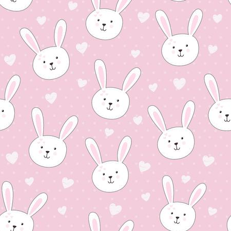 colorful heart: Cute seamless pattern with rabbit in childish style. Vector illustration Illustration