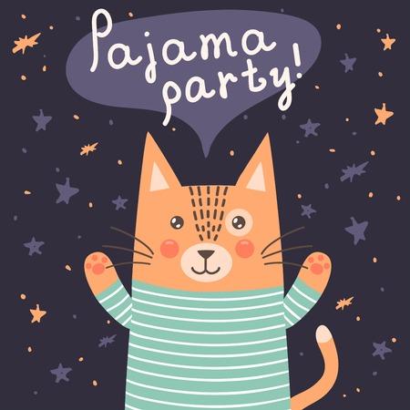 pijamada: Tarjeta del partido de pijama con un gato lindo. ilustración vectorial ideal para tarjetas de invitación, carteles e impresiones Vectores