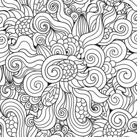 twirls: Black and white wavy seamless pattern. Abstract hand-drawn texture with waves, twirls and curls. Vector illustration