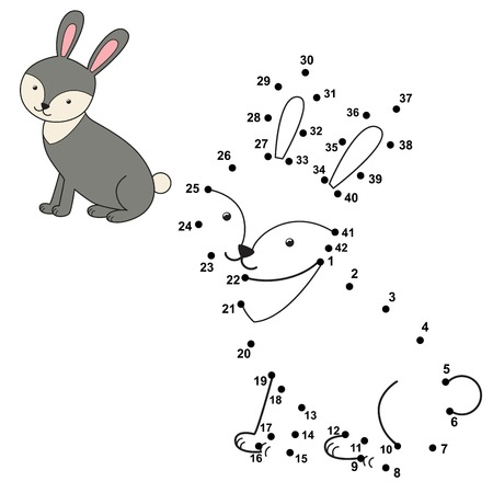 Connect the dots to draw the cute rabbit and color it. Educational numbers and coloring game for children. Vector illustration