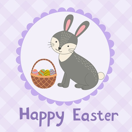 cartoon easter basket: Happy Easter greeting card with a cute rabbit. Vector illustration