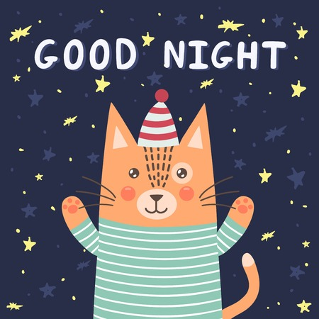 night sky: Good night card with a cute cat. Vector illustration
