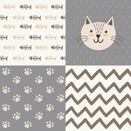 Cute baby shower pattern with a cat. Vector design set Ilustrace