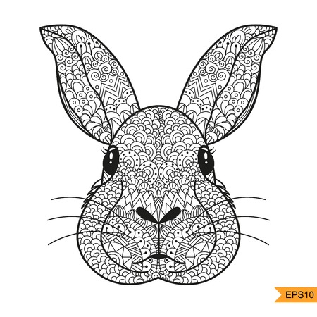 Rabbit head for adult anti stress coloring page, shirt design, tattoo and decoration, printing on bags and for any other kind of design and cards. Vector illustration on white