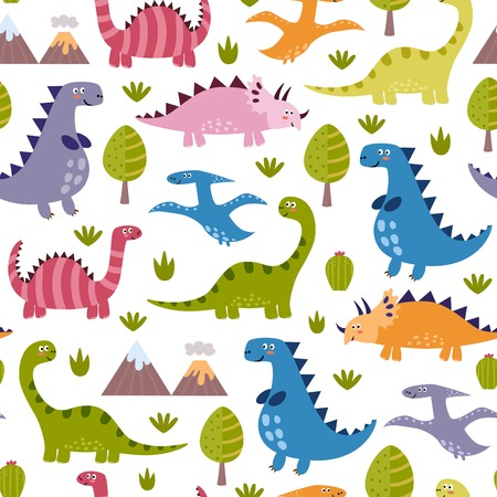 cartoon dinosaur: Cute dinosaurs seamless pattern. Vector texture in childish style great for fabric and textile, wallpapers, web page backgrounds, cards and banners design