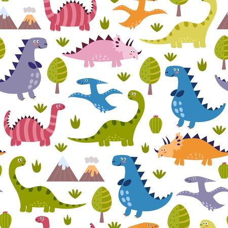 dinosaurio caricatura: dinosaurios lindos sin patrón. Textura del vector en estilo infantil grande para telas y textiles, papeles pintados, fondos de páginas web, banners y tarjetas de diseño