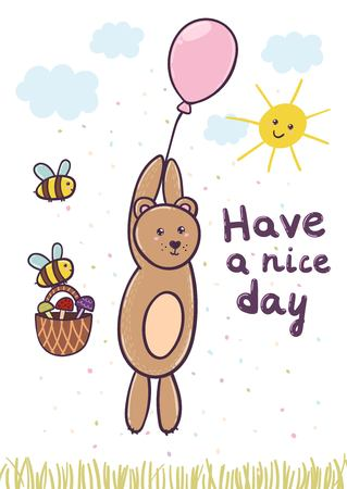Have a nice day card with a cute bear flying on a balloon. Vector illustration