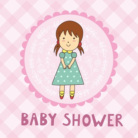 newborn baby girl: Baby shower card with a cute girl. Vector illustration