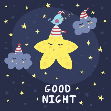night bird: Good night card with a cute star, clouds and a bird. Vector illustration